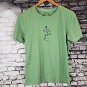 Life Is Good Green Running Girl T Shirt Small